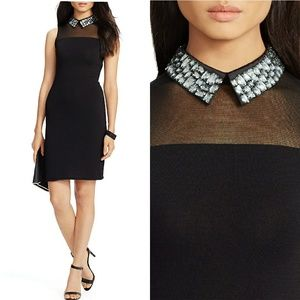 New! RALPH LAUREN Jeweled Collar Black Dress